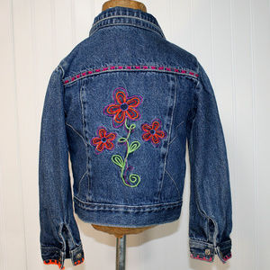 FADED GLORY Girls Embroidered Denim Jean Jacket